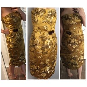 Bright Gold Tapestry Floral Embroidered Dress 12
